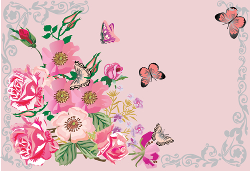 Pink vintage butterfly background - photo#33