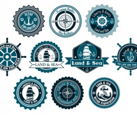 Retro styles nautical labels vector material 02