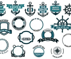 Retro styles nautical labels vector material 03