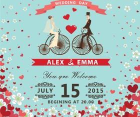 Romantic wedding cards retro style vector 03