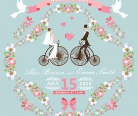 Romantic wedding cards retro style vector 04