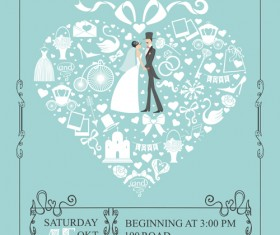 Romantic wedding cards retro style vector 05