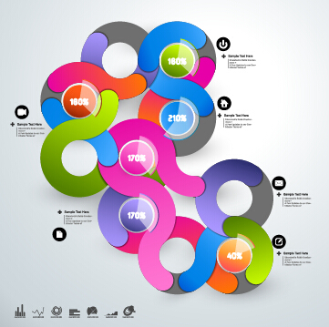 Round colored infographics and diagram vector template 01