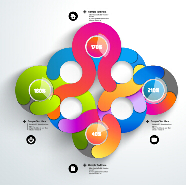 Round colored infographics and diagram vector template 02
