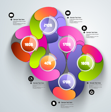 Round colored infographics and diagram vector template 03