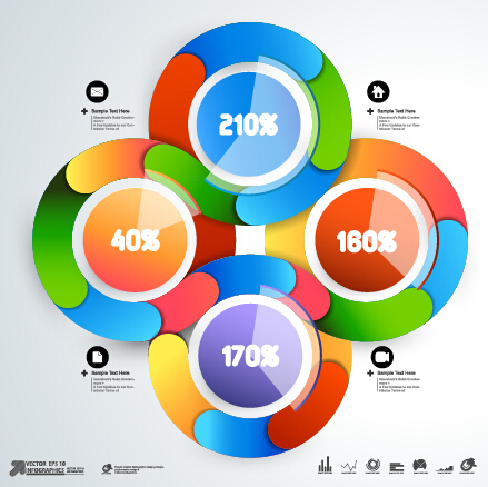 Round colored infographics and diagram vector template 05