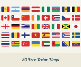 Set of 50 free vector flags