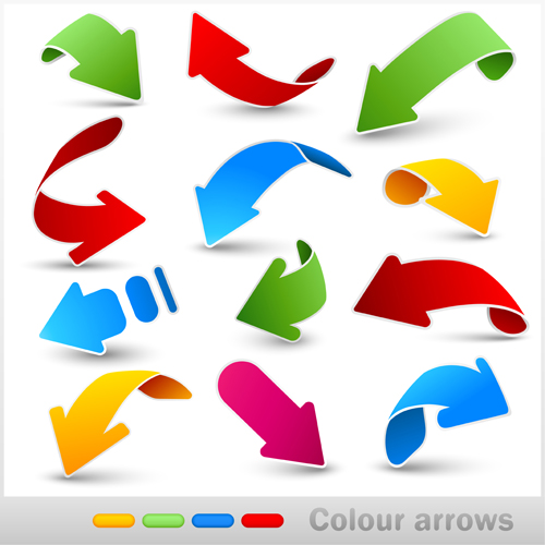 Set of colored arrows vector material 03