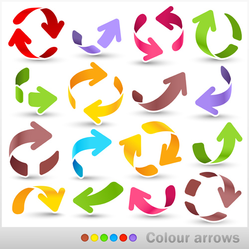 Set of colored arrows vector material 04