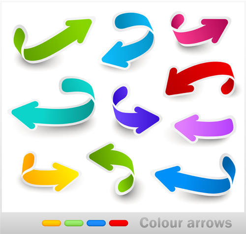 Set of colored arrows vector material 07