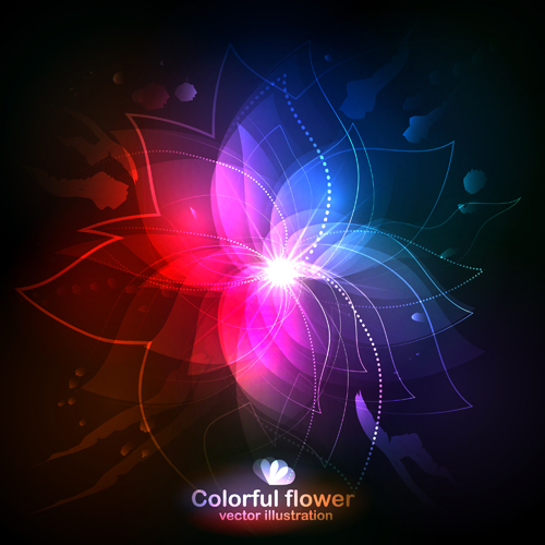 Shiny colored flower vector illustration