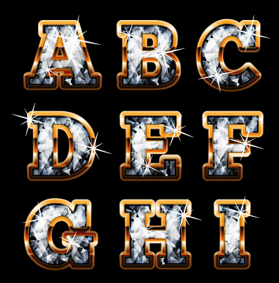 R Alphabet In Diamond Diamond styles alphabet design material 05 Vector Font free download