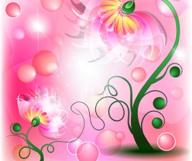 Shiny flower with pink background vector