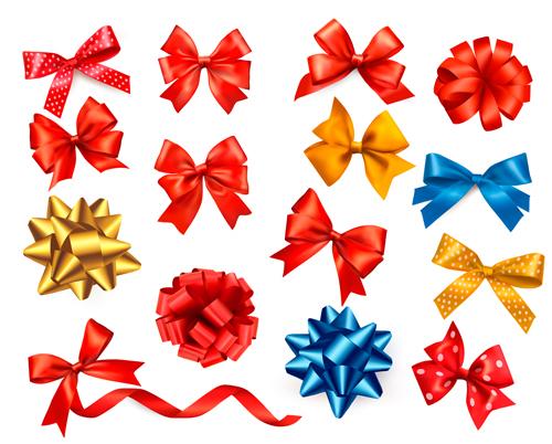 Shiny ribbon with bow vector set 04