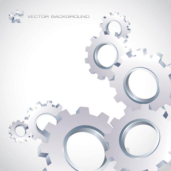 Silver gear wheels vector background 01