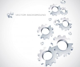 Silver gear wheels vector background 02