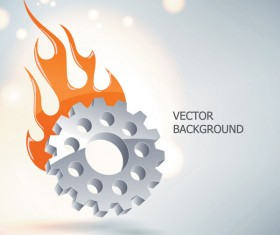Silver gear wheels vector background 04