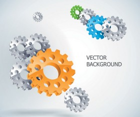 Silver gear wheels vector background 05