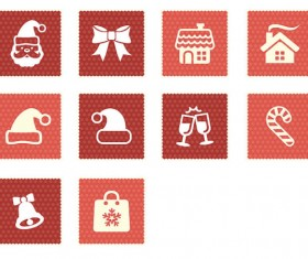 Square christmas icons set 01
