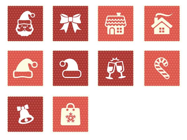 Square christmas icons set 01