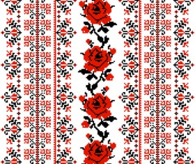 Ukrainian styles embroidery patterns vector set 01