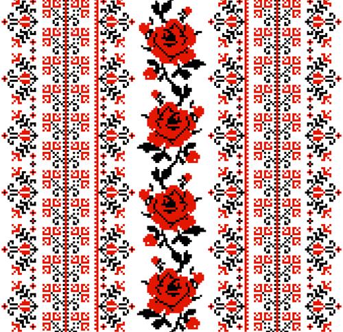 Ukrainian styles embroidery patterns vector set