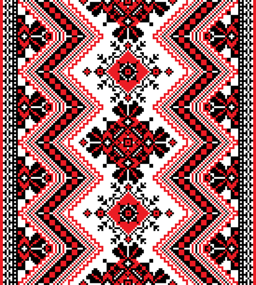 Ukrainian Styles Embroidery Patterns Vector Set 02