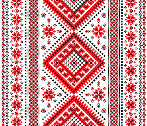 Ukrainian Styles Embroidery Patterns Vector Set 04