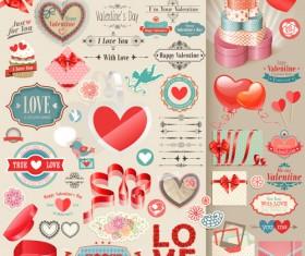 Valentines Day retro elements vectors