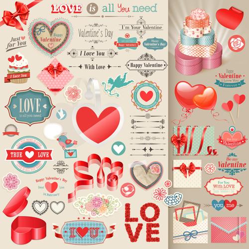 Valentines Day Retro Elements Vectors Free Download