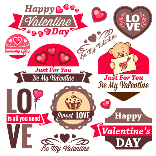 Valentines Day Romantic Labels  Vector Festival Vector Label