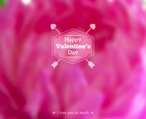 Valentines day blurred flower background vector 01