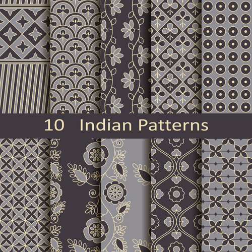 Vector Indian style seamless patterns 02