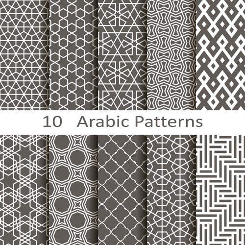 Vector arabic style seamless patterns 01
