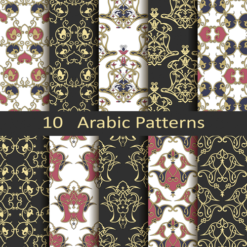Vector arabic style seamless patterns 03