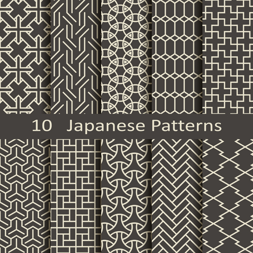 Vector japanese style seamless patterns - Vector Pattern free download