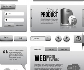 Vector metal style website template material