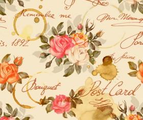 Vintage flowers patterns vector seamless design 01