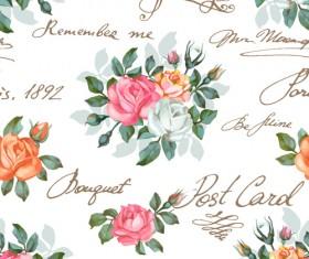 Vintage flowers patterns vector seamless design 02