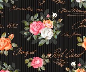 Vintage flowers patterns vector seamless design 03