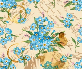 Vintage flowers patterns vector seamless design 04