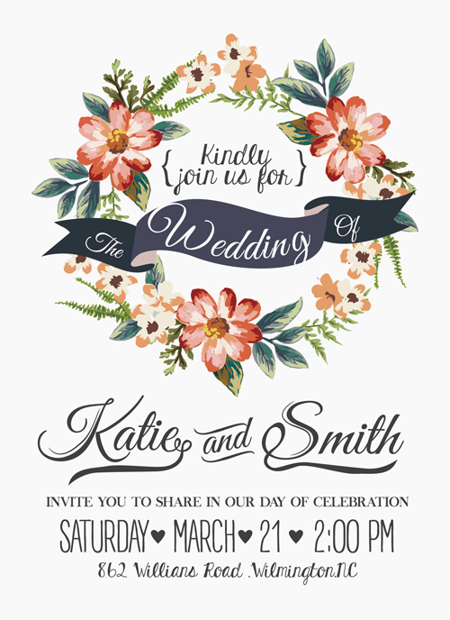 Vintage Flower Wedding Invitation Background Vector Background