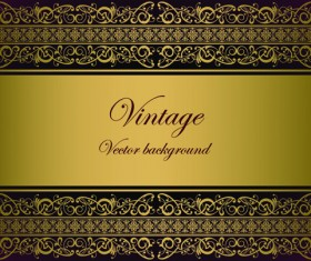 Vintage gold border background vector 03