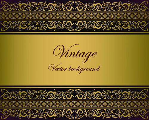 Vintage gold border background vector 03 - Vector Background free ...