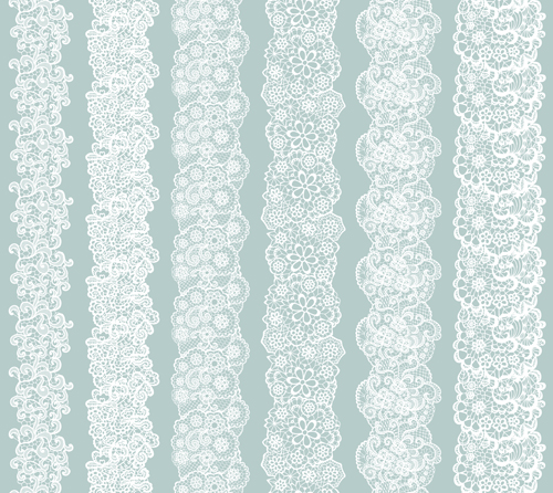 White lace vector seamless borders