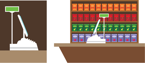 supermarket showcase and food vector set 01