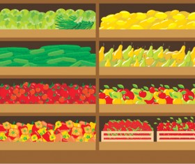 supermarket showcase and food vector set 02