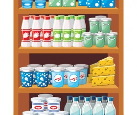 supermarket showcase and food vector set 03