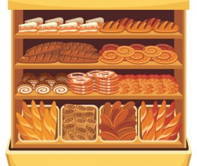 supermarket showcase and food vector set 04