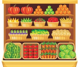 supermarket showcase and food vector set 05